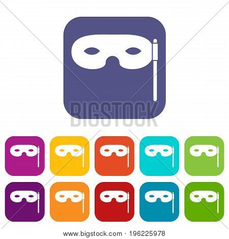 Carnival mask icons set vector illustration in flat style in colors red, blue, green, and other