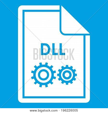 File DLL icon white isolated on blue background vector illustration