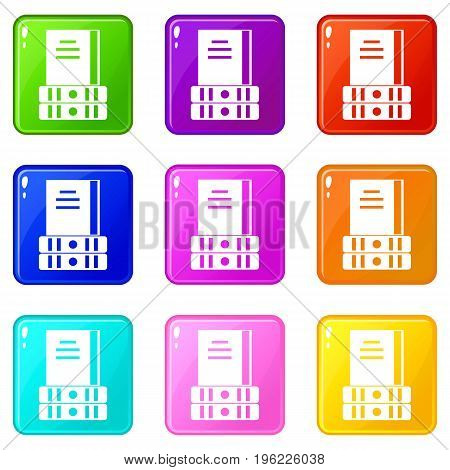 Three books icons of 9 color set isolated vector illustration