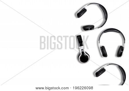 Wireless black headphones audio for listen isolated on white background
