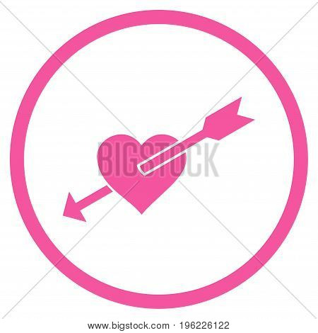 Heart Arrow rounded icon. Vector illustration style is flat iconic symbol inside circle, pink color, white background.