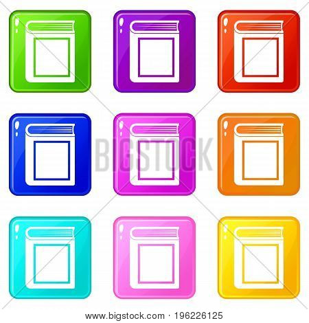 Thick book icons of 9 color set isolated vector illustration