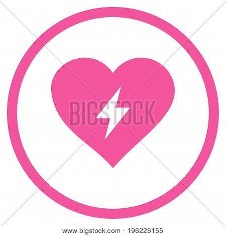 Heart Power rounded icon. Vector illustration style is flat iconic symbol inside circle, pink color, white background.