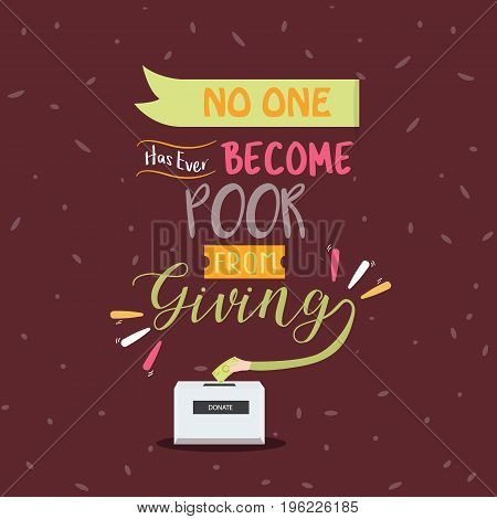 no one become poor from giving quotes poster motivation text concept vector