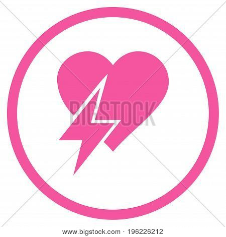 Heart Shock rounded icon. Vector illustration style is flat iconic symbol inside circle, pink color, white background.