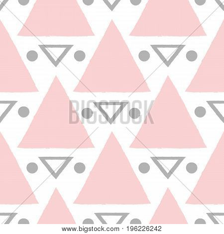 Seamless grunge pattern with triangles and circles. Drawn with a rough brush. Vector illustration. White pink dark gray color.