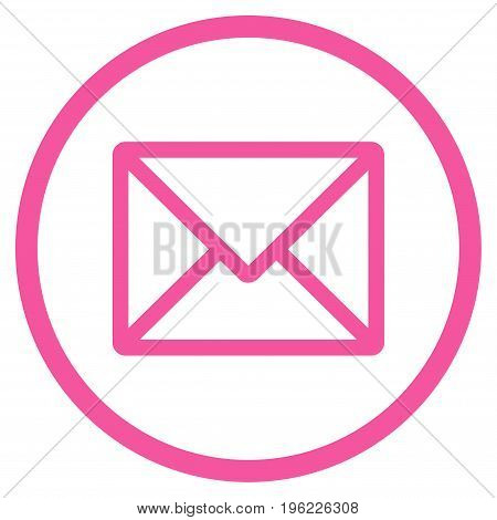Letter rounded icon. Vector illustration style is flat iconic symbol inside circle, pink color, white background.