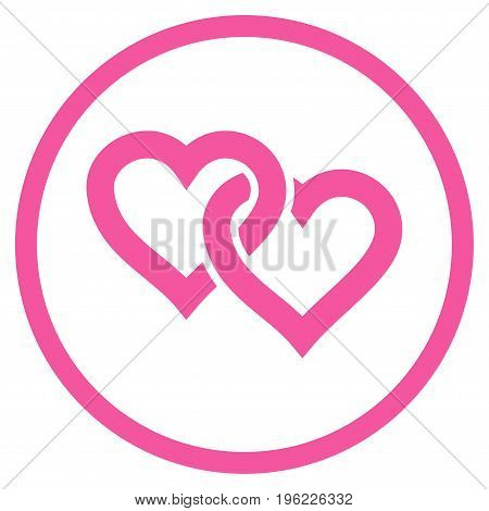Linked Hearts rounded icon. Vector illustration style is flat iconic symbol inside circle, pink color, white background.