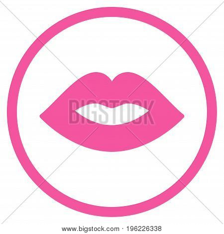 Lips rounded icon. Vector illustration style is flat iconic symbol inside circle, pink color, white background.