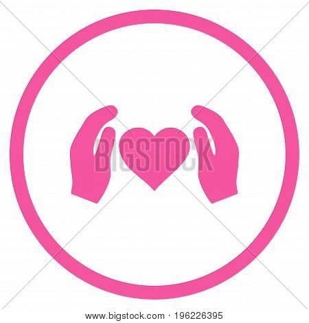 Love Care Hands rounded icon. Vector illustration style is flat iconic symbol inside circle, pink color, white background.