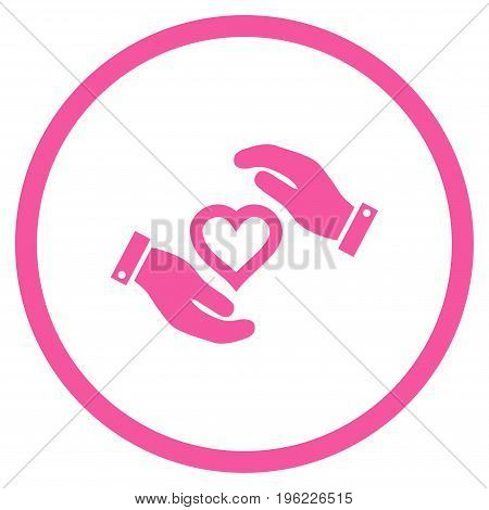 Love Heart Care Hands rounded icon. Vector illustration style is flat iconic symbol inside circle, pink color, white background.