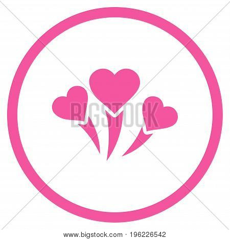 Love Heart Fireworks rounded icon. Vector illustration style is flat iconic symbol inside circle, pink color, white background.