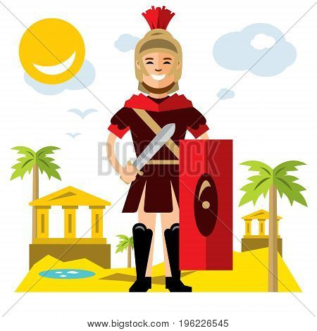 The Ancient soldier with sword and shield. Isolated on a white background