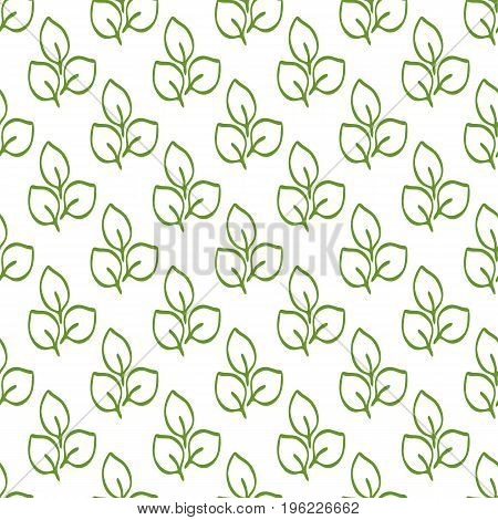 Repeating outlines of green leaves on a white background. Organic seamless pattern. Vector illustration.
