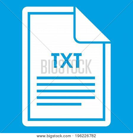 File TXT icon white isolated on blue background vector illustration