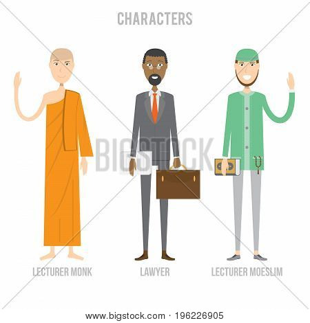 Character Set include lawyer, lecturer moeslim and lecturer monk | set of vector character illustration use for human, profession, business, marketing and much more.The set can be used for several purposes like: websites, print templates, presentation tem