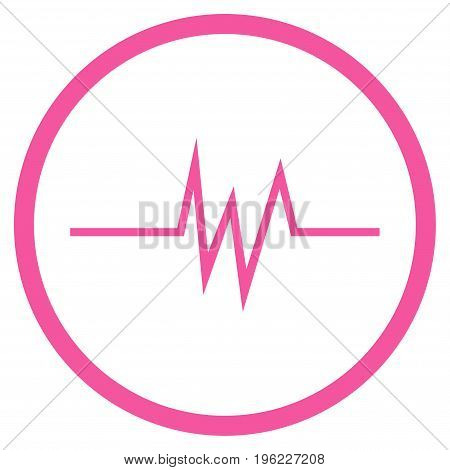 Pulse Signal rounded icon. Vector illustration style is flat iconic symbol inside circle, pink color, white background.