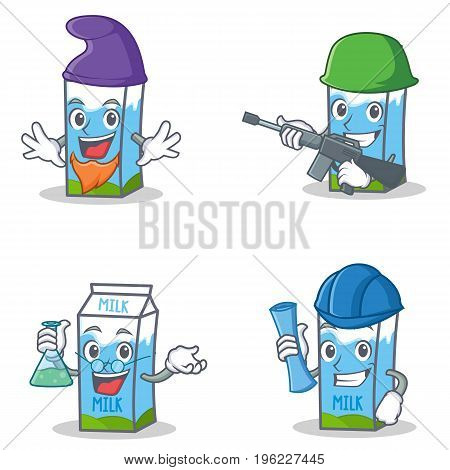 Set of milk box character with elf army professor architect vector illustration