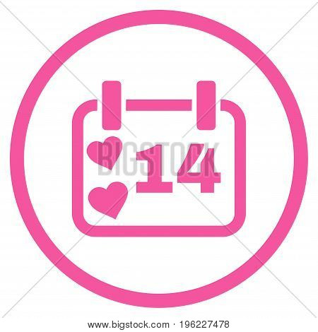 Valentine Calendar Day rounded icon. Vector illustration style is flat iconic symbol inside circle, pink color, white background.