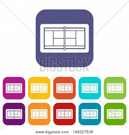 Tennis court icons set vector illustration in flat style in colors red, blue, green, and other