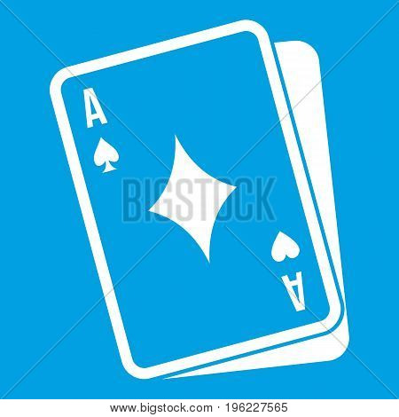 Playing card icon white isolated on blue background vector illustration