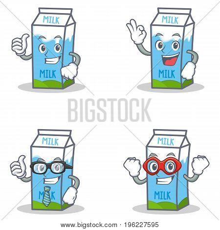 Set of milk box character with okay proud businessman hero vector illustration