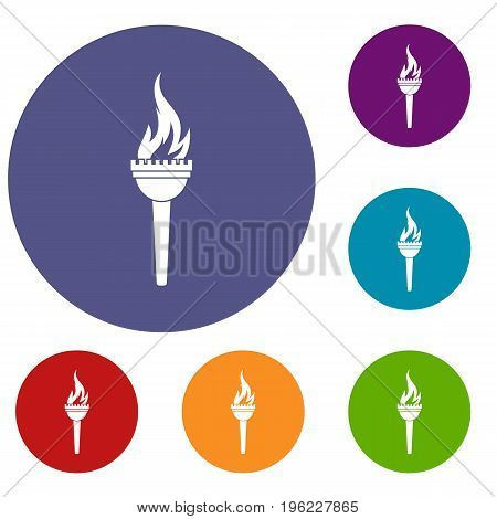 Torch icons set in flat circle red, blue and green color for web