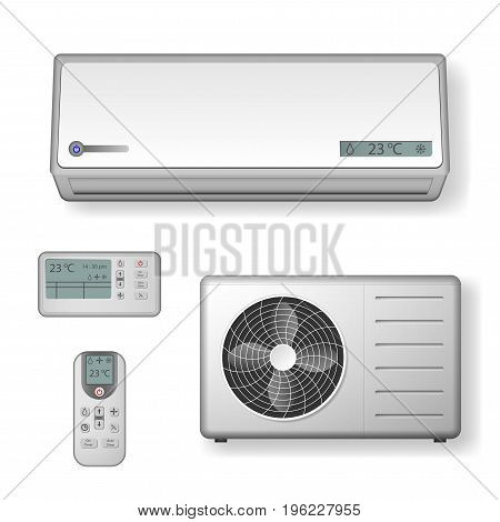Air conditioner realistic with cooling and ventilation equipment isolated. vector illustration