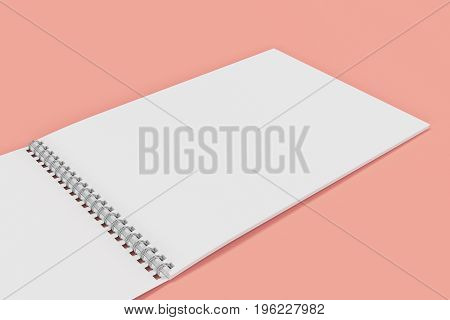 Open Blank White Notebook With Metal Spiral Bound On Red Background