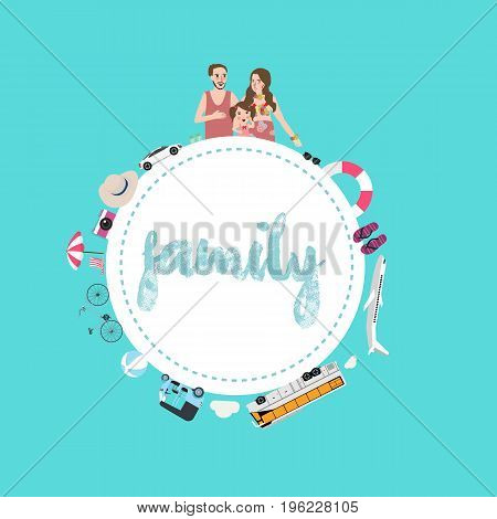 family mom dad and kids travel transportation options using car airplane or ship for vacation vector