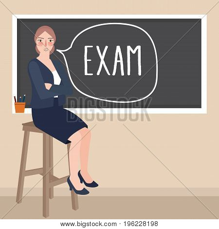 teacher sitting in front of class writing exam in blackboard vector