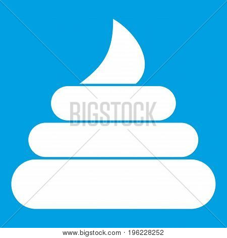Turd icon white isolated on blue background vector illustration