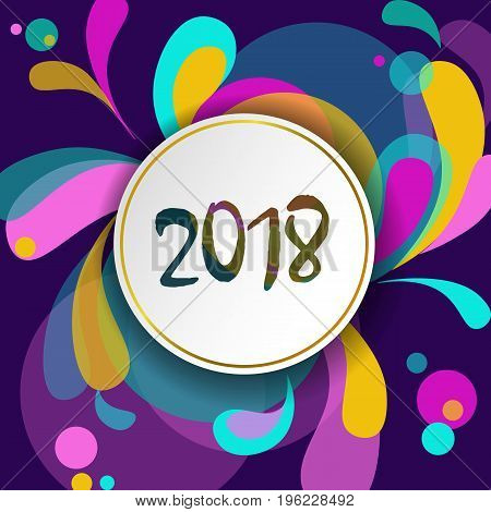 New year 2018 Greeting Card Template. Motion Dynamic Shapes Curl Design. Colorful geometric background white number. Purple pink green color vector illustration art