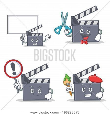 Set of movie clapper character with bring board sign barber artist vector illustration