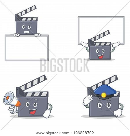 Set of movie clapper character with board police megaphone vector illustration