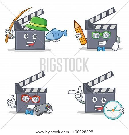 Set of movie clapper character with fishing student gamer clock vector illustration