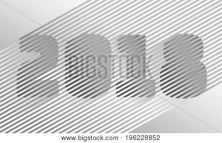 Abstract neutral stripe 2018 New Year number. Disco retro trendy style design. Parallel gray white color line. Gradient vibrant shadow illusion vector business illustration art