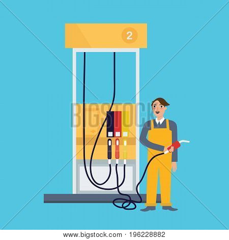 male employee standing in gas station holding fuel nozzle petrol occupation working job as attendant vector