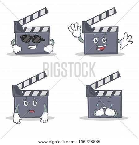 Set of movie clapper character with cool waving afraid crying vector illustration