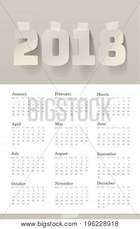 2018 Year Calendar Paper Art Style Design Adhesive Masking Paper Sticky Strip Tapes. White Gray Shadows. Week starts from Sunday. Vector illustration template