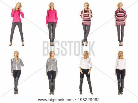 Collage Of Fashionable Young Woman Blonde In Jeans