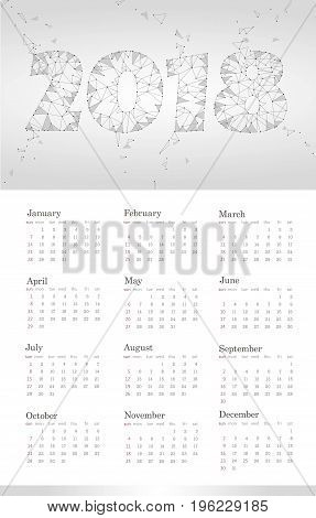 2018 Calendar Template. Week starts Sunday. Set of 12 Months. Portrait vertical orientation. Low Poly Gray White Neutral Abstract Polygonal Triangle Design Vector illustration art