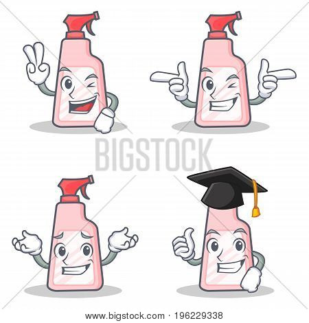 Set of cleaner character with two finger wink graduation vector illustration