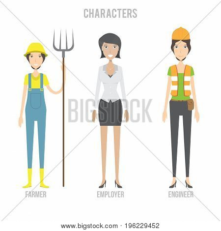 Character Set include farmer, engineer and employer | set of vector character illustration use for human, profession, business, marketing and much more.The set can be used for several purposes like: websites, print templates, presentation templates, and p