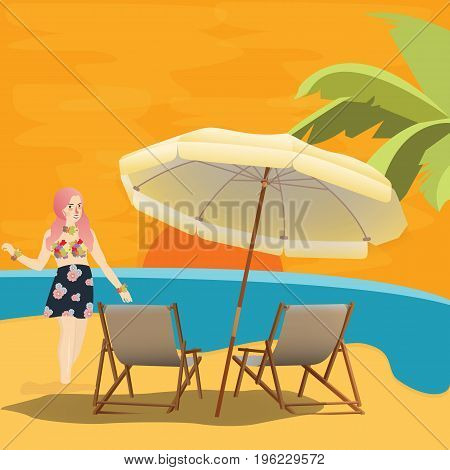girl woman in beach seaside waiting for sunset with chair and umbrella relax enjoy holiday vector