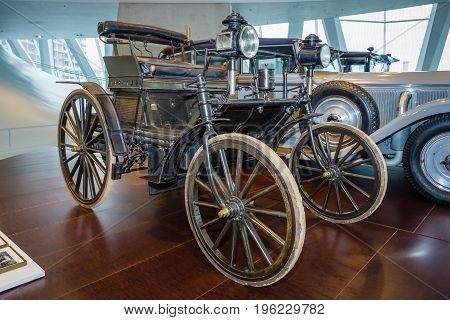 STUTTGART GERMANY- MARCH 19 2016: Daimler motor car purchased by Moulay Hassan I the Sultan of Morocco in 1892. Mercedes-Benz Museum.
