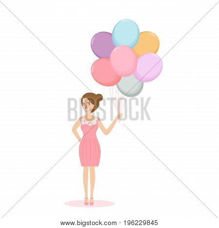 young woman girl holding balloon concept of happiness celebration and joy vector