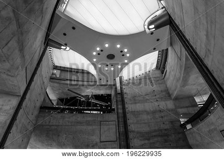 STUTTGART GERMANY- MARCH 19 2016: The interior of the museum the central part (floor levels). Black and white. Mercedes-Benz Museum.