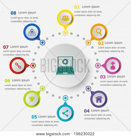 Infographic template with SEO icons, stock vector