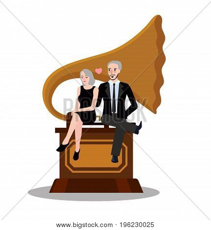 couple male female sit on gramophone old music classic vector